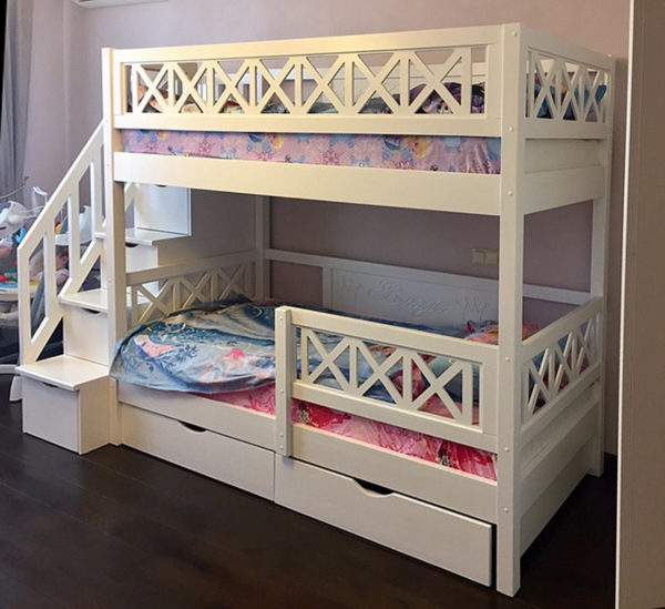 Купить двухъярусную кровать из массива сосны Прованс, www.krowatki.ru