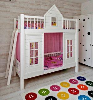 Двухъярусная кровать для детей домик из дерева в Москве!