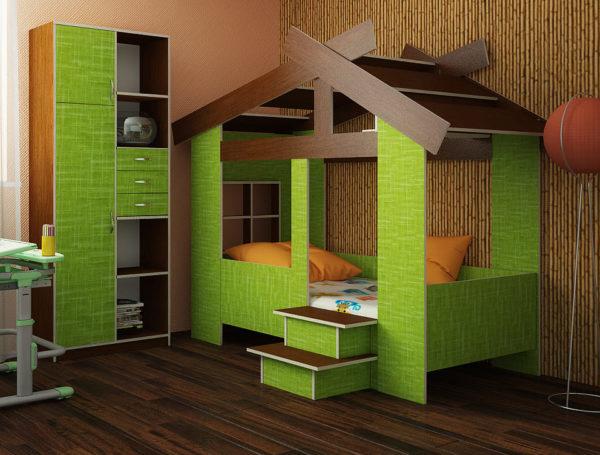 2 кровати домик