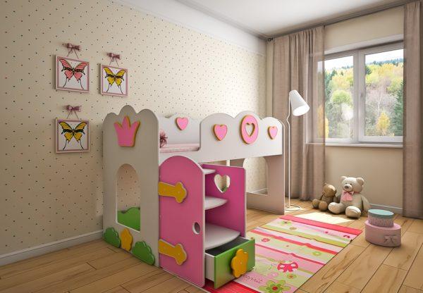 Купить детскую кровать чердак Принцесса