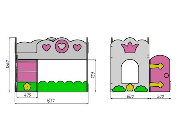 Размеры кровати Чердака Принцесса