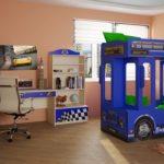 Кровать двухъярусная детская +в виде Автобуса английского