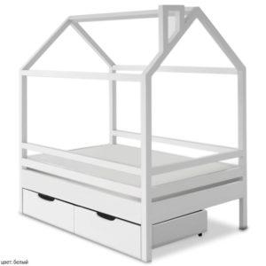 Деревянная кроватка домик в белом цвете из натурального дерева