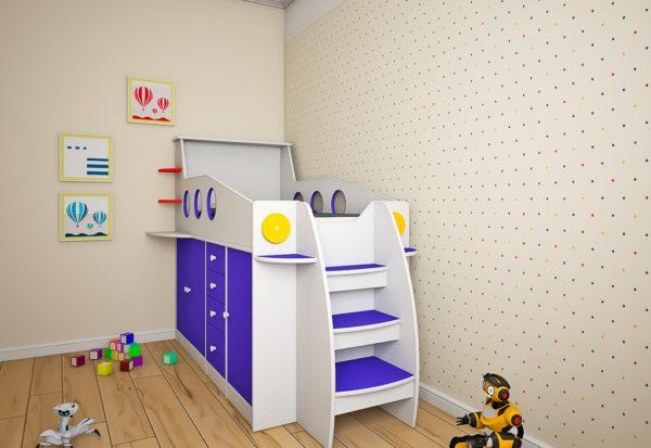 Купить детскую кровать чердак- Ракета