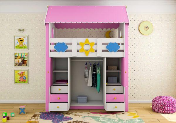 Купить детскую кровать чердак со шкафом