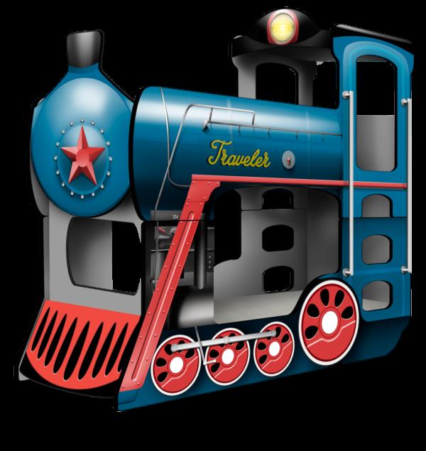 Кровать-двухъярусная-Поезд-Тревеллер-синий