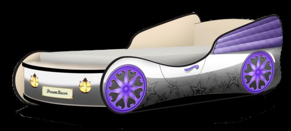Кровать машинка для девочки купить Звёздочки серый