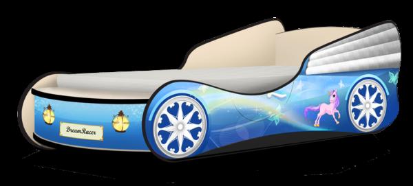 Кровать машинка для девочки купить Пони голубой