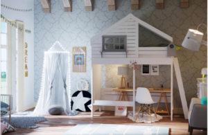Кровать чердак Домик купить в нашем магазине детской мебели!