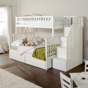 Купить белую двухъярусную кровать на krowatki.ru