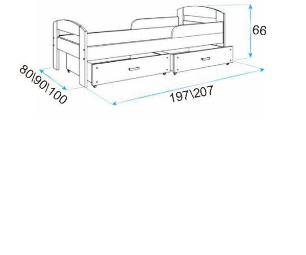 Купить детскую кровать с ящиками и бортиком!
