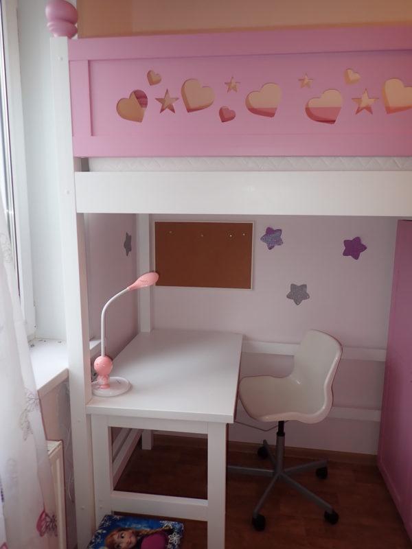 Кровать чердак со столом и шкафом на KROWATKI.RU