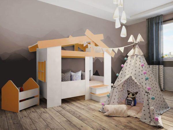 Детская кровать Домик белый