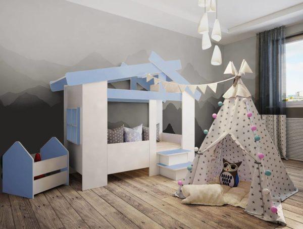 Кровать Домик белый с ящиком