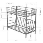 Размеры двухъярусной металлической кровати