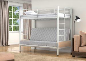 Детская двухъярусная металлическая кровать с диваном!