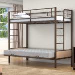 Двухъярусная кровать с диваном металлический каркас
