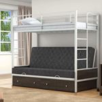 Кровать двухъярусная детская металлическая с бортами