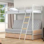 Стильная двухъярусная кровать белая металлическая