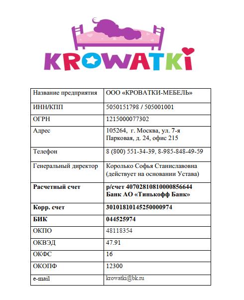 Реквизиты интернет магазина Krowatki.ru