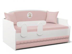 Кровать тахта мягкая Тедди в розовом цвете для девочки